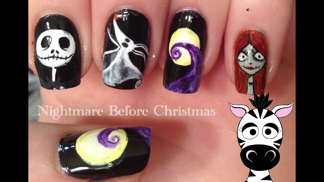 Nightmare Before Christmas Nail Art Tutorial (REQUEST) - YouTube