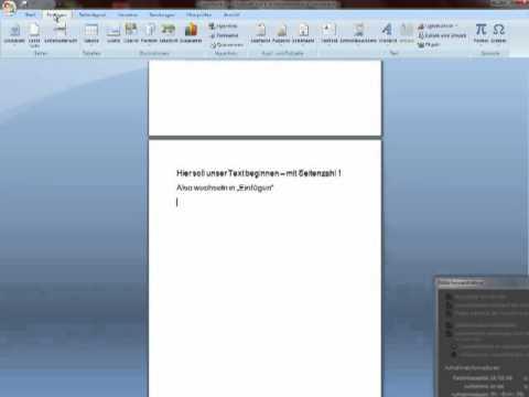 Word 2007 Seitenzahlen Einfügen Ab Seite 3 Youtube