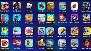 Subway Surfers,Roblox,Pokemon Quest,Hitmasters,Scary Teacher 3D,Sniper 3D,Angry Birds 2,Fruit Ninja