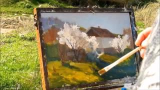 Пленэр в Крыму Этюд цветущий миндаль. Владимир Коломиец