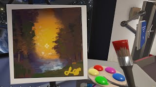 We tried following Bob Ross Tutorials in a painting game