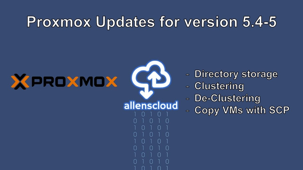 Proxmox Update video for version 5 4-5 (Clustering and Storage)