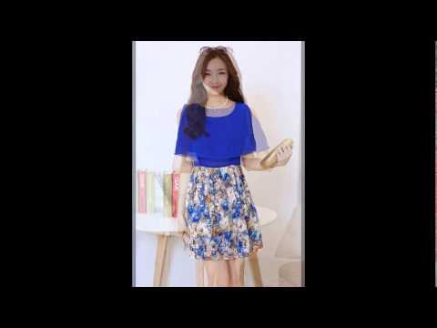 เสื้อผ้าแฟชั่นเกาหลี : ชุดเดรสสั้นน่ารัก สีน้ำเงิน แต่งระบาย กระโปรงลายดอกไม้ ผ้าชีฟอง