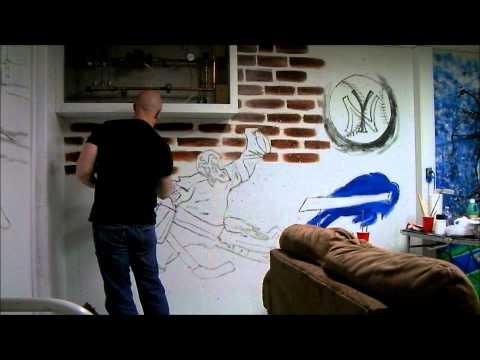 Mancave Mural Feat. Cowboys, Yankees, NY Rangers, Bills And Syracuse Orange