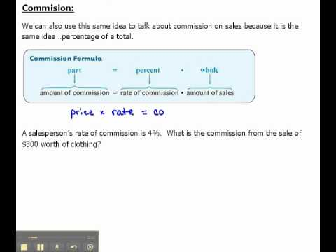Finding Commission And Commission Rate On A Sale 6 6 Youtube