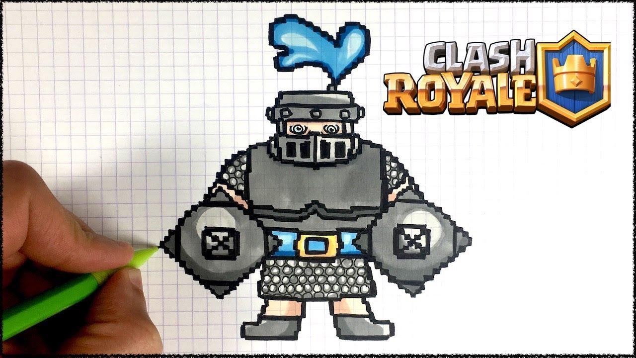 Draw Mega Knight Pixel Art Clash Royale