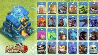 Town hall 12 ( giga tesla) VS  all troops in coc   TH 12 LEAKED GAMEPLAY