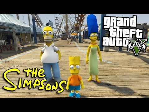 GTA 5 Mods - THE SIMPSONS MOD w/ BART, HOMER & MARGE (GTA 5 Mods Gameplay)