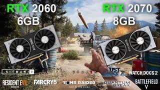 RTX 2060 6GB vs RTX 2070 8GB | i7 9700K @3.6GHz | 10 pc games tested | 1080p/FHD 1440p/WQHD 2160p/4K
