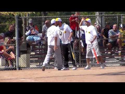 7 Mile/Line Drive's #24 scores on hit vs. Detroit Riot in E World title game