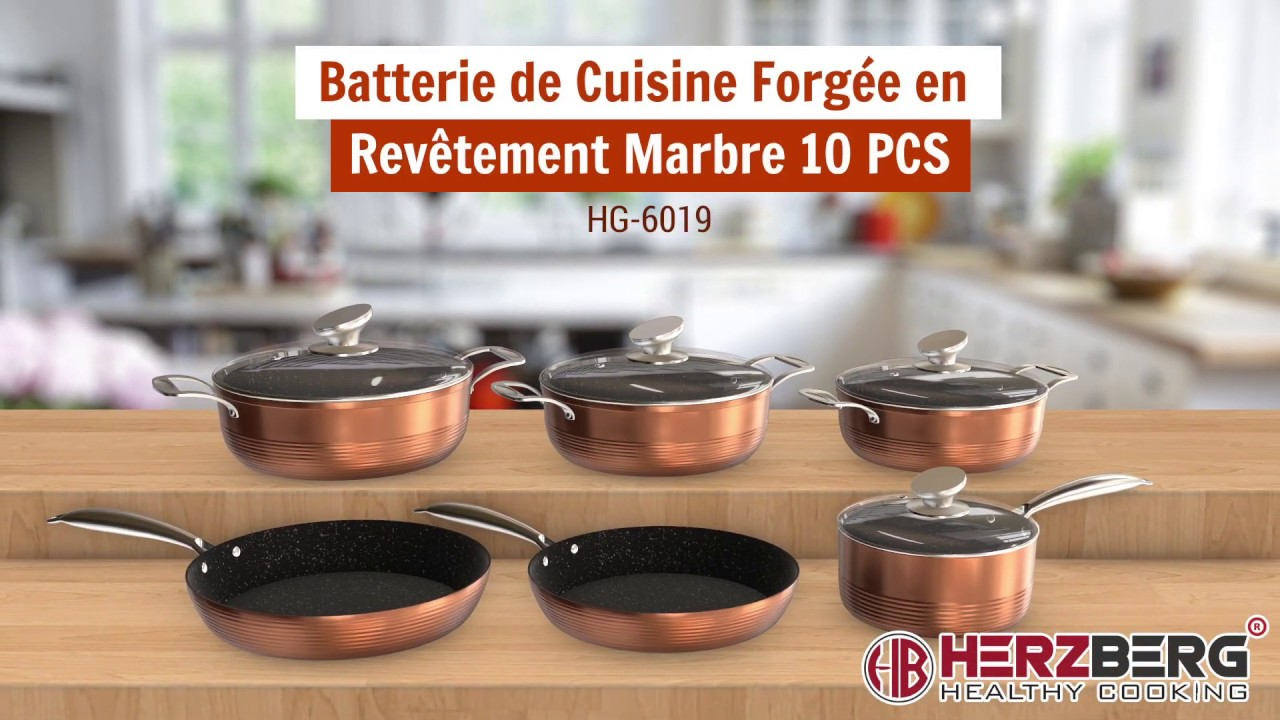 Batterie De Cuisine En Aluminium Forgee Revetement Pierre 10 Pcs
