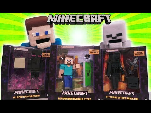 Minecraft Survival mode SERIES 6 5 inch Action Figures Wither Skeleton Enderman Mattel Unboxing