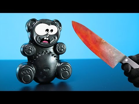 Glühendes Metall Messer VS Gummi Lucky Bär usw - EXPERIMENT