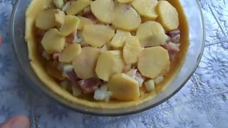 КУРНИК . Пирог с мясом  и картошкой.