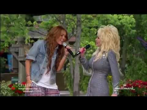 Miley Cyrus and Dolly Parton Singing