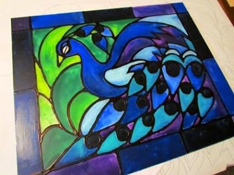 How to create faux stained glass using only acrylic paint and glue