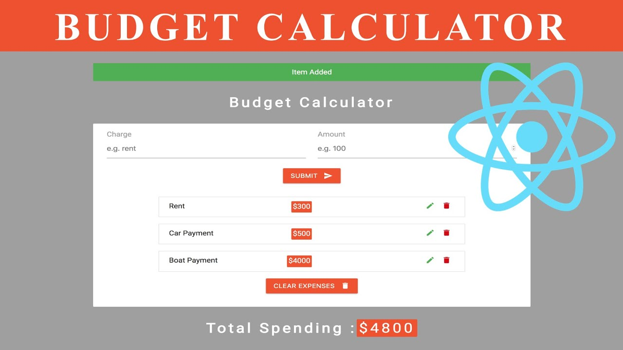 React Hooks Project – Budget Calculator