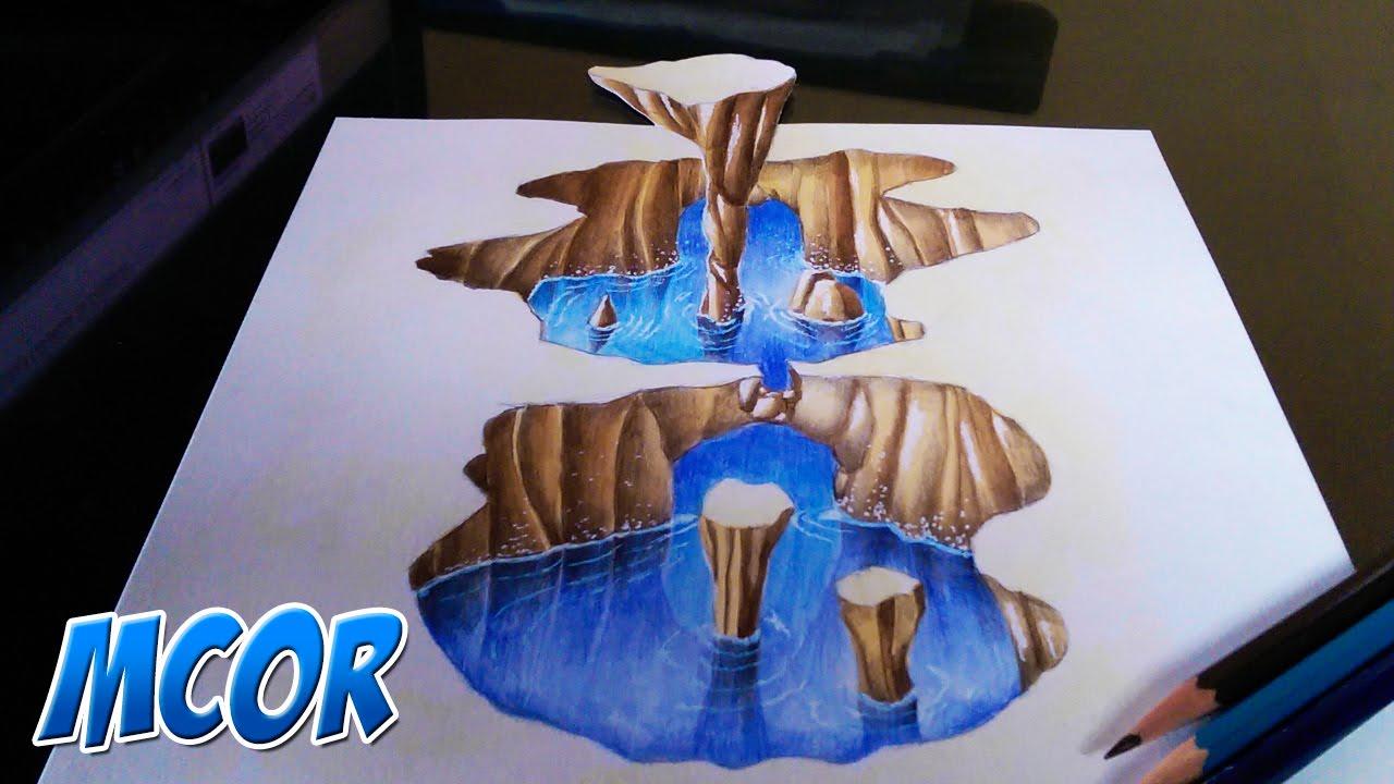 Como Dibujar Una Cavernalago 3d