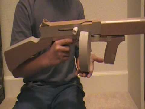 Homemade Cardboard Paper Gun Thompson M1a1 Tommy