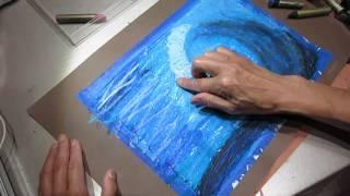 Panting oil pastel ocean waves