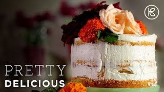 Naked Vanilla Butter Cake Topped with Flowers