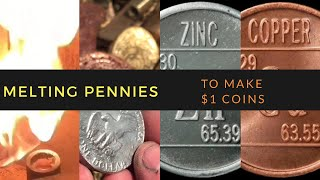 How to Turn Pennies Into Dollars $$$ - Penny Melting Coin Casting copper & Zinc