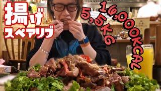 大食い→揚げスペアリブ5.5kg 16,000kcalを食べた。inタイ象 Eating 12lb Deep flyed Pork Spareribs