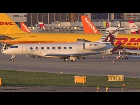 [FullHD] Qatar Executive Gulfstream G650ER takeoff at Geneva/GVA/LSGG