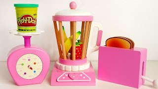 Pink Blender Scale Toaster Playset for Kids and Play Doh Food