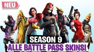BATTLE PASS SEASON 9! ALLE SKINS & STYLES | Fortnite Battle Royale