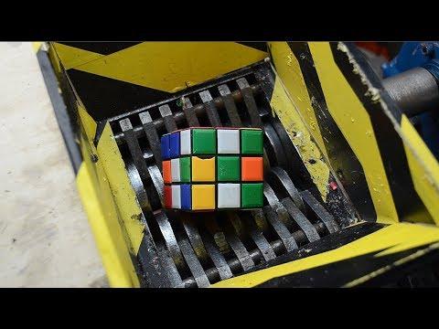 Crushing Rubik's Cube - Shredding 3x3 rubik's - Shredder vs Rubik's Cube experiment