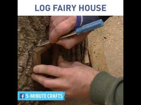 How to make a log fairy house easy DIY