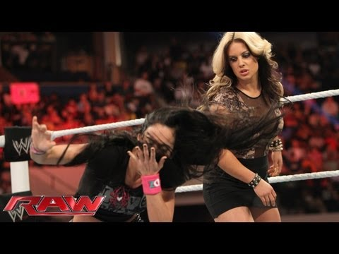 Raw - AJ and Kaitlyn brawl before WWE Payback: Raw, June 10, 2013