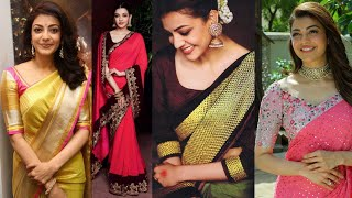Top 50 stylish kajal agarwal saree and blouse collection | Stylish kajal designer saree designs