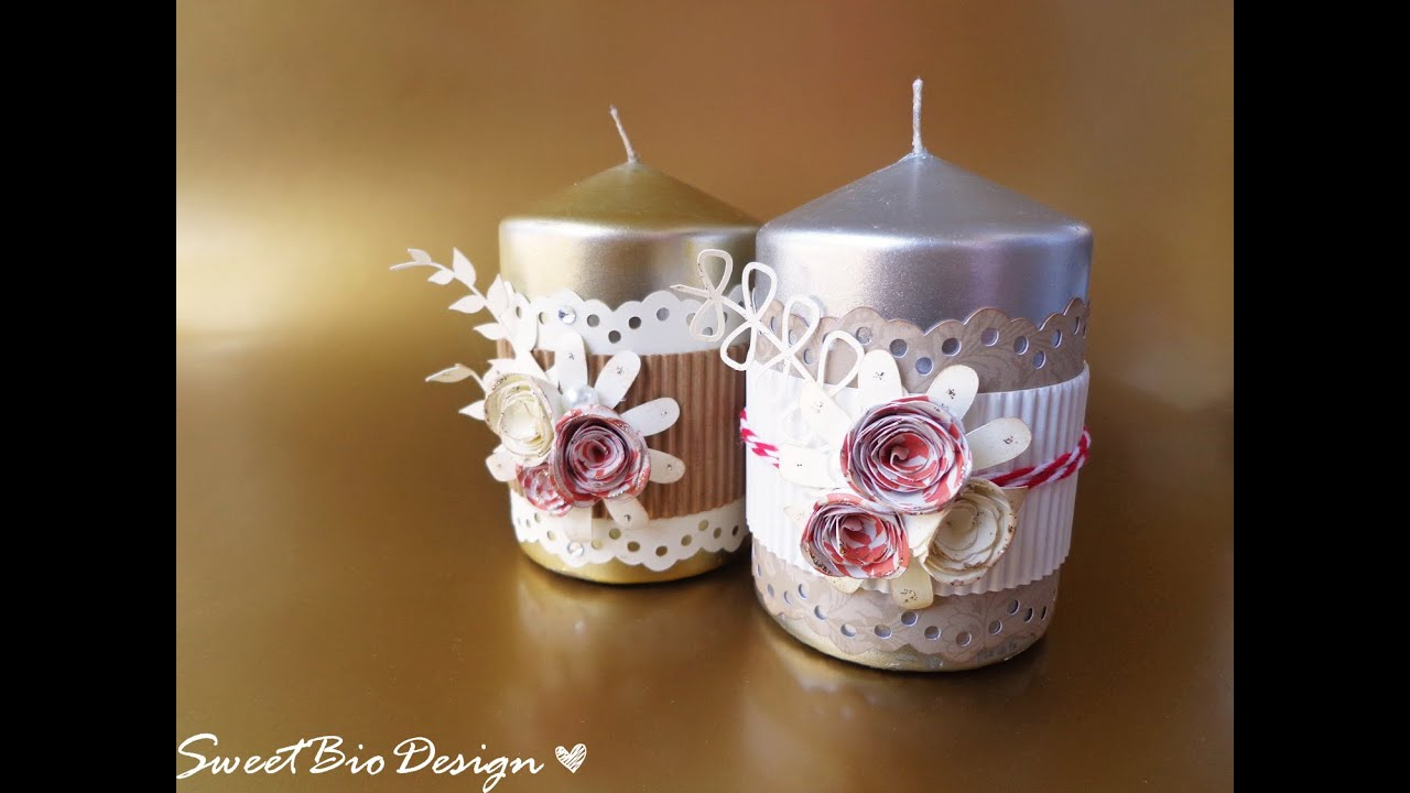 Candele Fai Da Te Tutorial.Candele Decorate Fai Da Te Gift Idea Decorated Candles Youtube