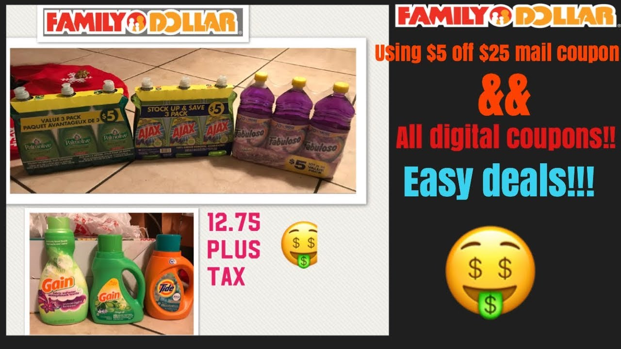Family Dollar Transaction Using A $5 Off $25 Paper Coupon && Digitals!!  11/30/17