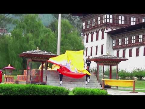 Flag Down Ceremony  at Thimphu Dzong, Royal Dzong of Bhutan