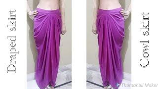 Draped/Cowl skirt cutting and stitching | Dhoti style trendy skirt making | Dhoti dress tutorial |