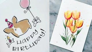 Простые рисунки которые может нарисовать каждый. Уроки рисование акварелью # 3    Lessons drawing.