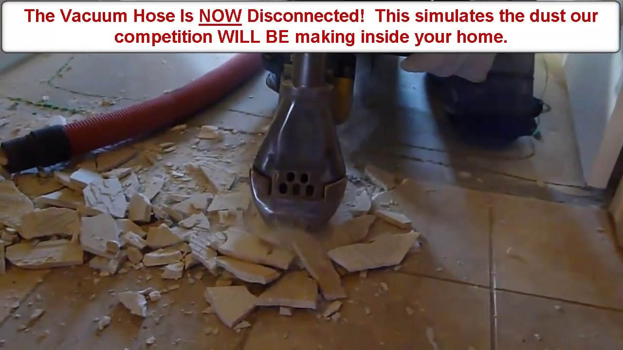 Watch How The Dustram System Conquers Stone Slate Offering Dust Free Tile Removal