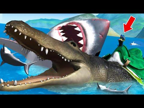 GIANT ALLIGATOR Vs GIANT SHARK - Amazing Frog Part 186 | Pungence