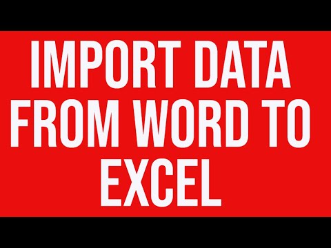 Import data from Word to Excel