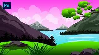 Photoshop Drawing Tutorial - Mountain & river landscape Scenery Drwaing