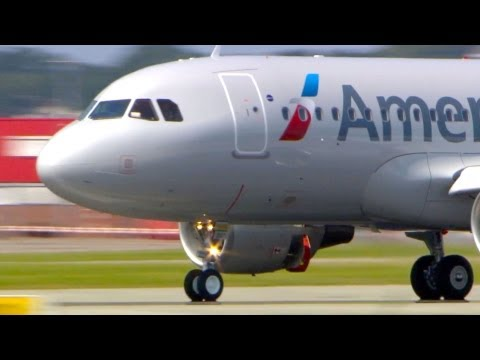 New American Airlines A319 - Landing, Close-Ups, Take-Off