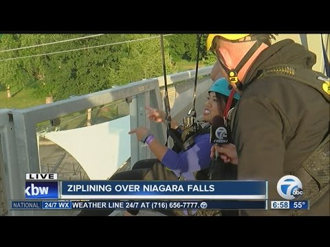 Soaring over the edge of Niagara Falls, new zip line opens to public
