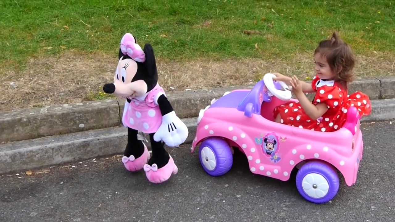 minnie mouse ride on pink car kids car race youtube