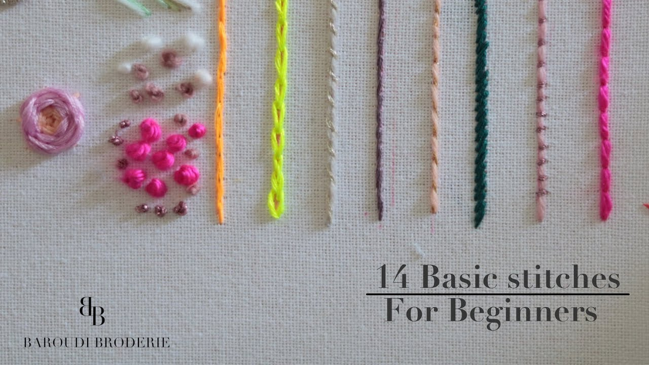 Hand embroidery for beginners   20 basic stitches I Embroidery step by step  tutoriel