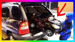 Funny BABY Ride On POWER WHEEL to Petrol Statio! Funny Kid Driving and Fueling the Car!