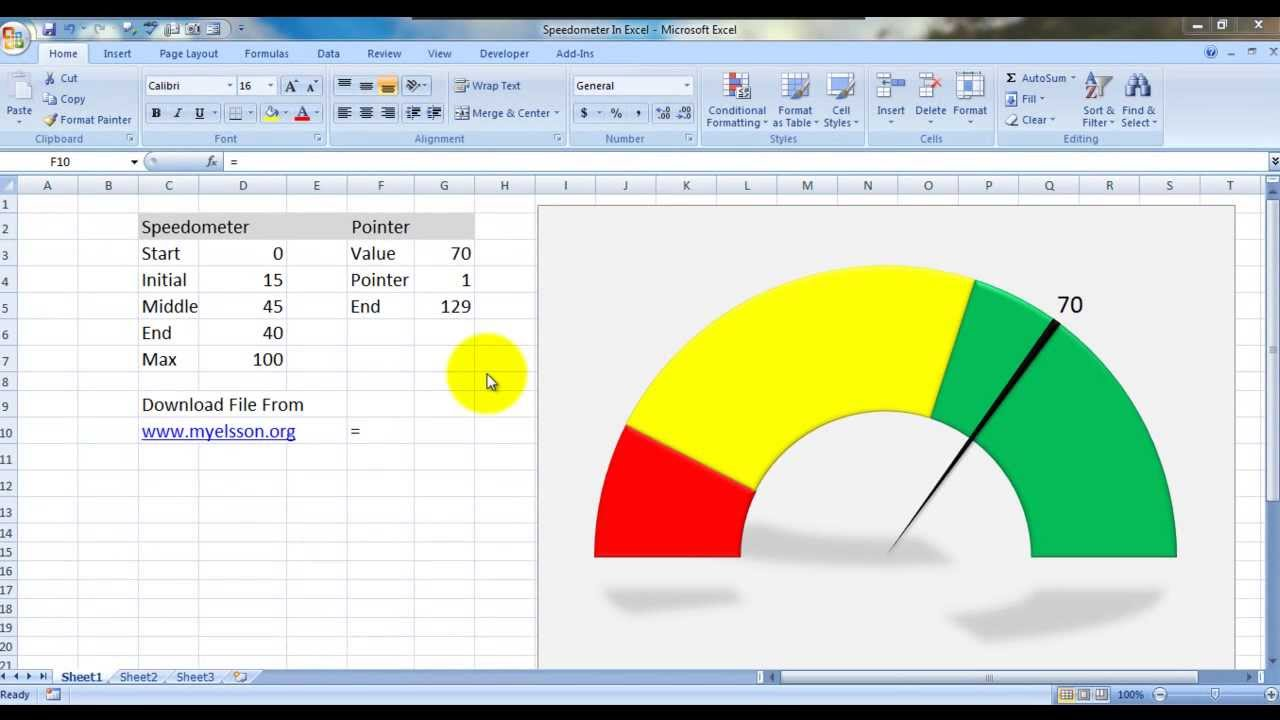 Create speedometer chart in excel doovi for Excel speedometer template download