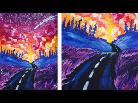 Acrylic Painting Step by Step Of a Road and Sunset Fantasy 🎨